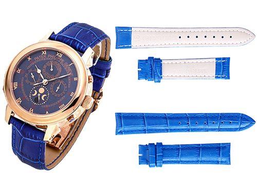 Ремень для часов Patek Philippe синего цвета