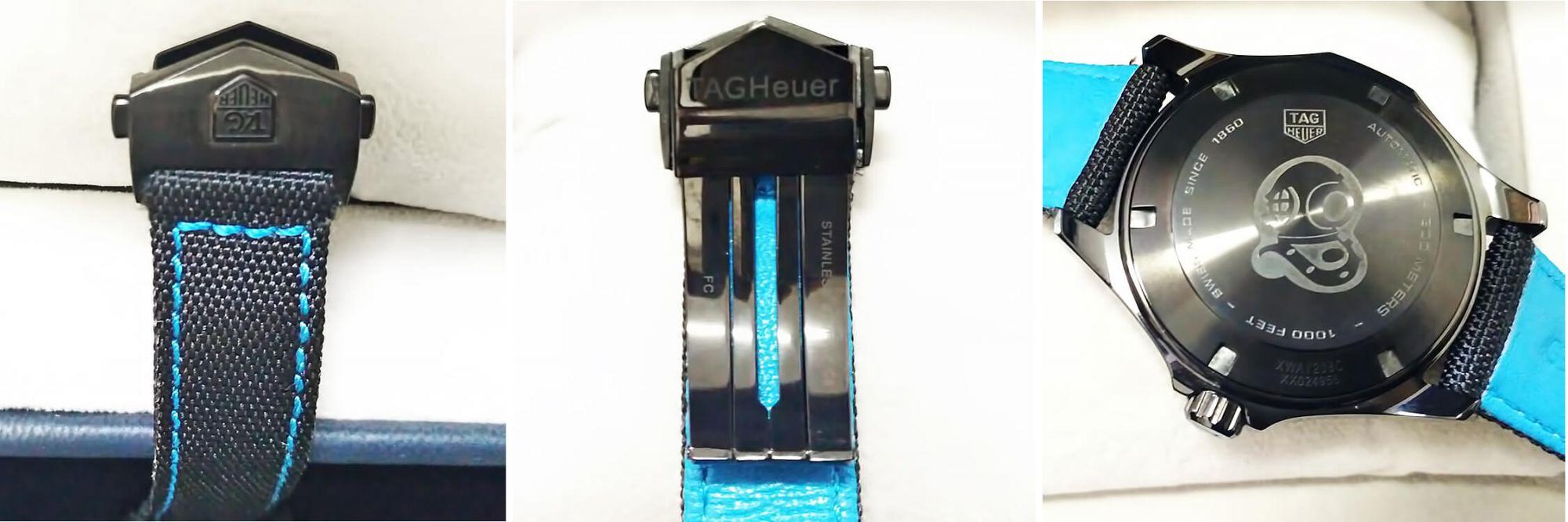 Оборотная сторона корпуса и ремешок в реплике TAG Heuer Aquaracer Carbon Edition