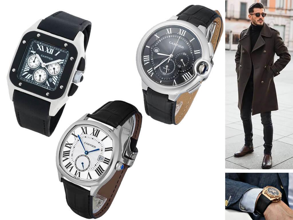 Мужские часы Картье с ремешком из кожи