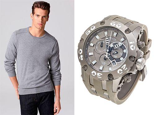 Часы мужские Invicta с серым ремешком