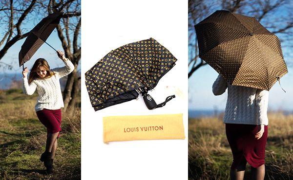 Женский зонт коричневого цвета