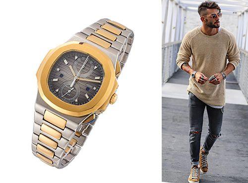 Мужские часы Patek Philippe с циферблатом серого цвета