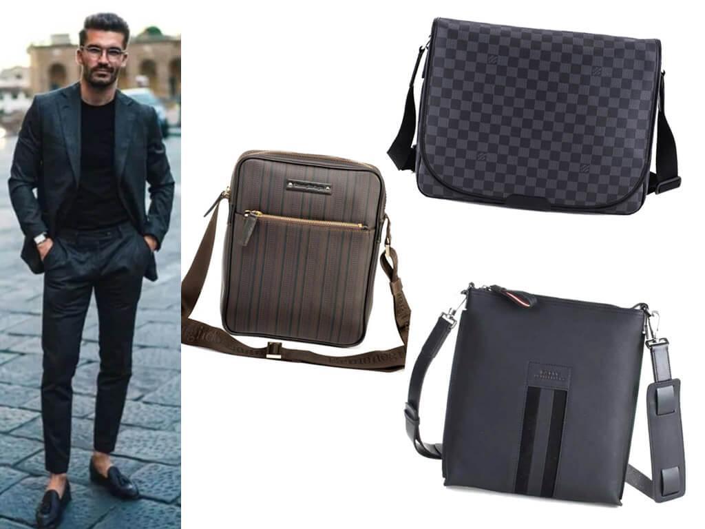 Мужские кожаные сумки с рисунком