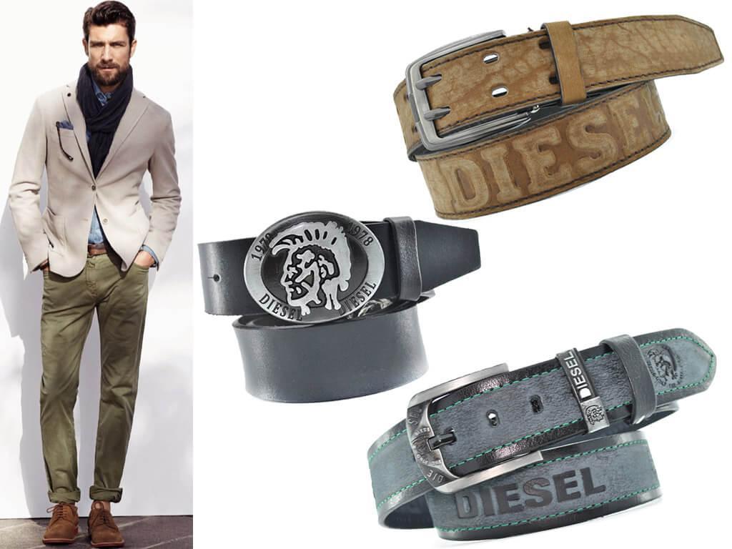 Кожаные мужские ремни Дизель в стиле casual