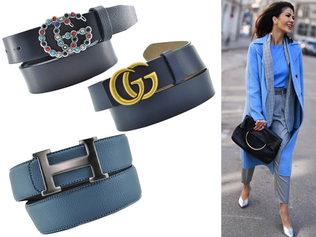 Женский синий ремень хорошо смотрится в дуэте с голубыми джинсами, а также блузами, платьями, туниками близких оттенков