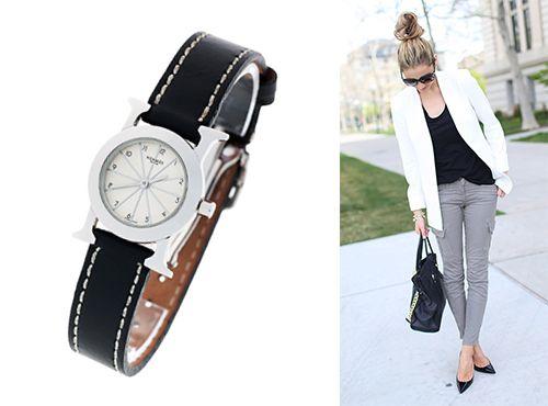 Женские наручные часы Hermes белый циферблат