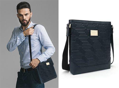 Синяя мужская сумка Versace