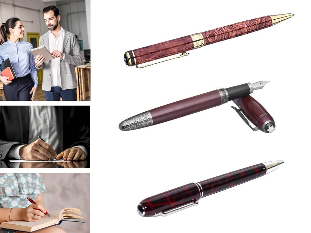 Фирменные брендовые ручки бордового цвета