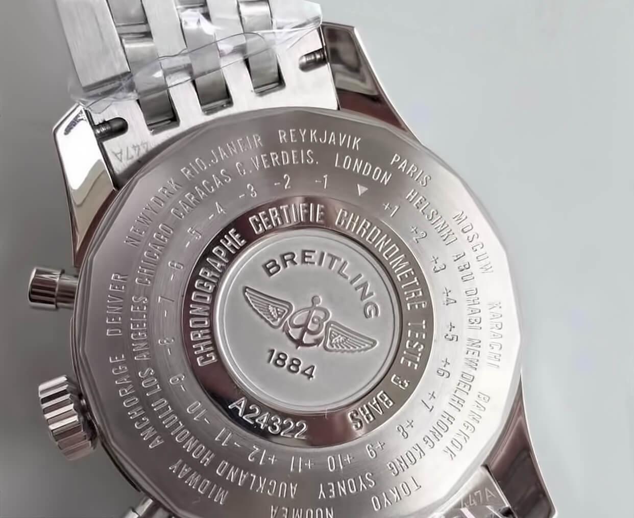 Надписи и обозначения на обороте корпуса часов Брайтлинг
