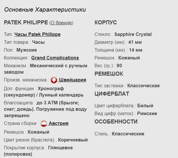 Технические параметры реплики Patek Philippe GRAND COMPLICATIONS