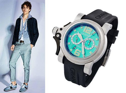 Мужские часы Graham с циферблатом голубого цвета
