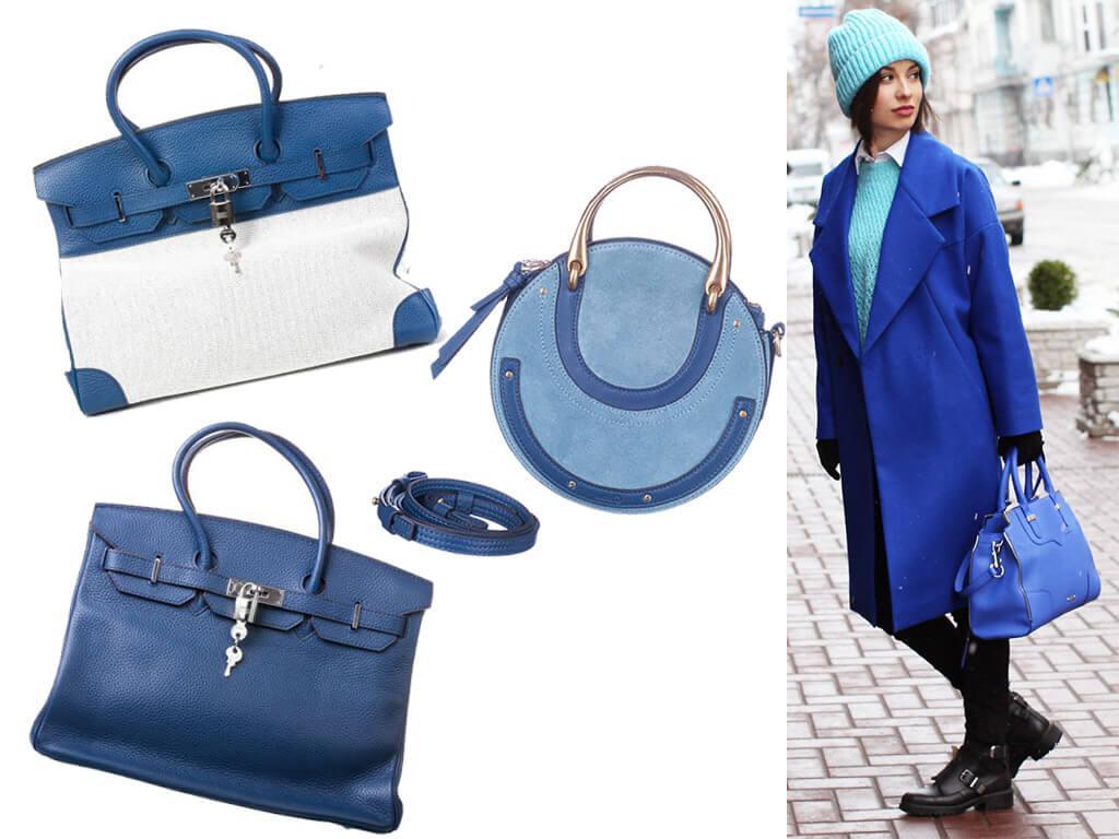 Синие сумки из кожи женские