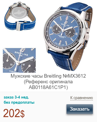 Реплика Брайтлинг Премьер Хронограф с синим циферблатом