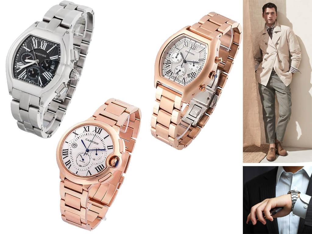 Мужские часы Картье на браслете