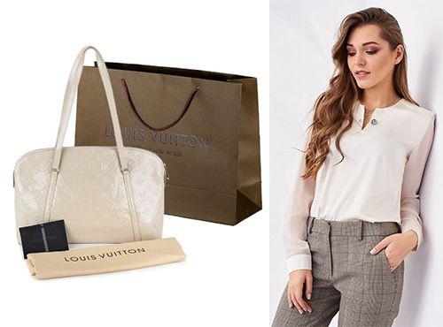Бежевая кожаная сумка от Louis Vuitton для девушки