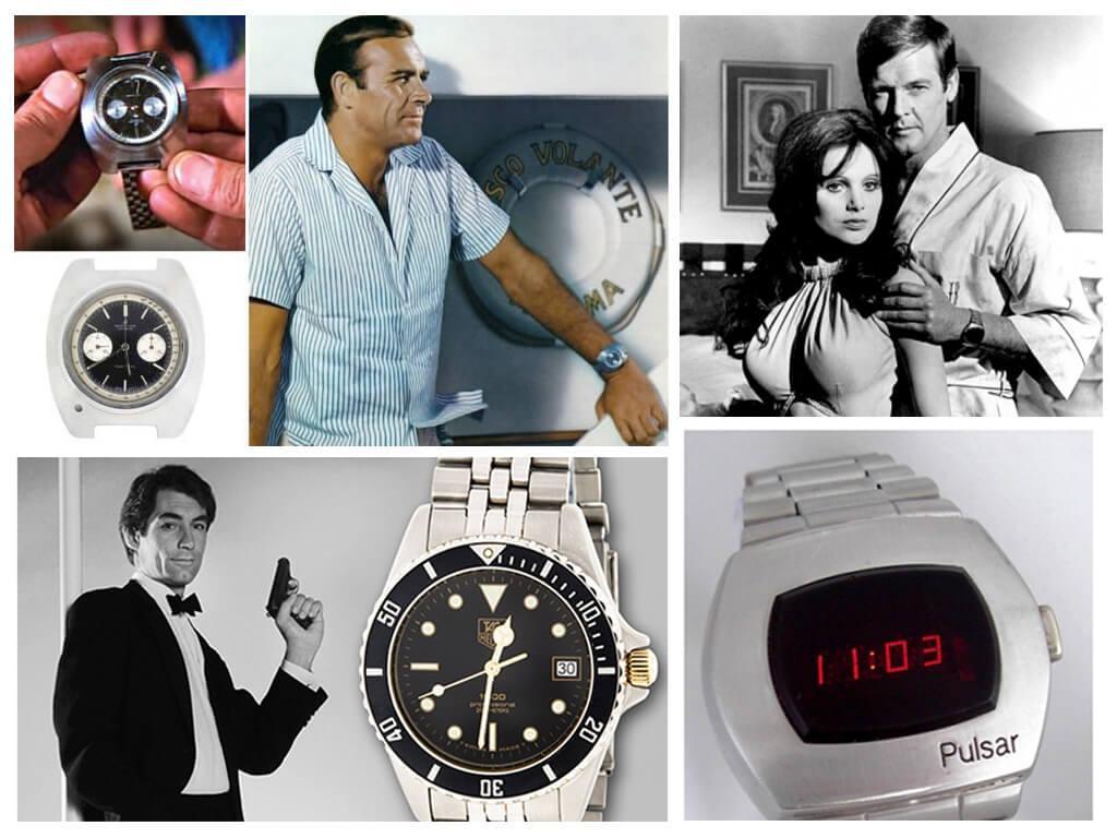 Часы Шона Коннори, Роджера Мура и Тимати Далтона в фильмах Бондианы ((Breitling Top Time, Hamilton Pulsar, Tag Heuer Professional 200M)