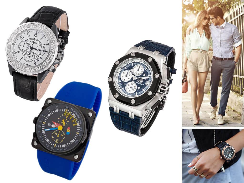 Мужские и женские часы на ремешке из кожи и каучука