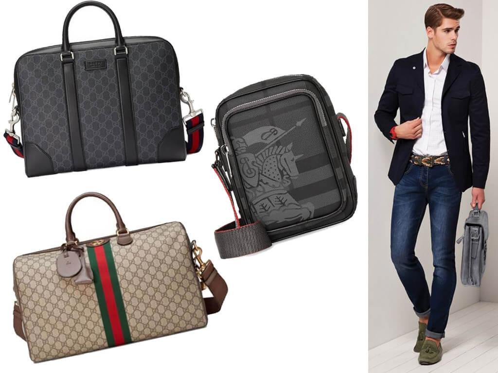 Кожаные сумки серого цвета для мужчин