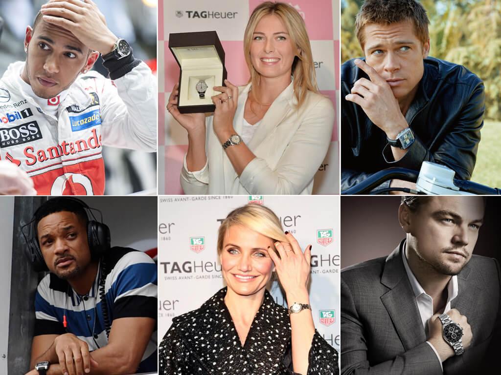 Знаменитости, предпочитающие часы TAG Heuer (Льюис Хэмильтон, Мария Шарапова, Брэд Питт, Уилл Смит, Камерон Диас, Леонардо Ди Каприо)