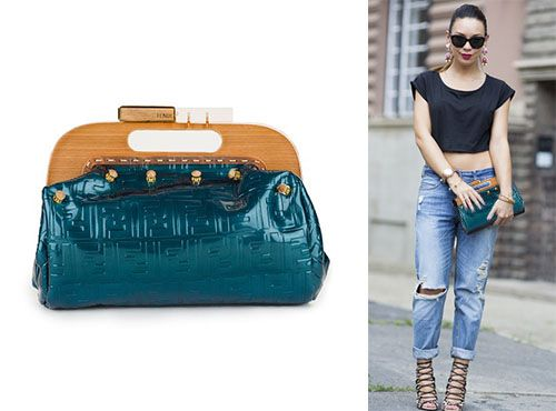 Женская синяя сумка Fendi