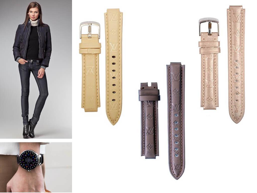 Ремешок к часам Louis Vuitton может быть изготовлен как из натуральной кожи, так и из прочного текстиля