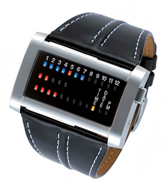 Часы бинарные с тремя рядами светодиодов