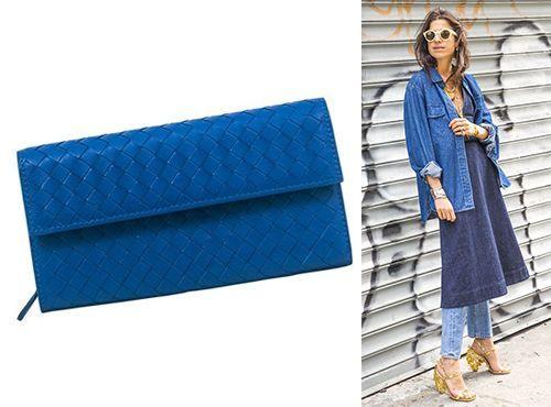 Клатч-сумка синяя Bottega Veneta