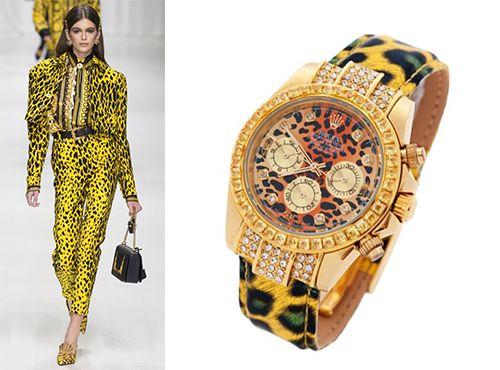Женские часы Rolex с желтым ремнем