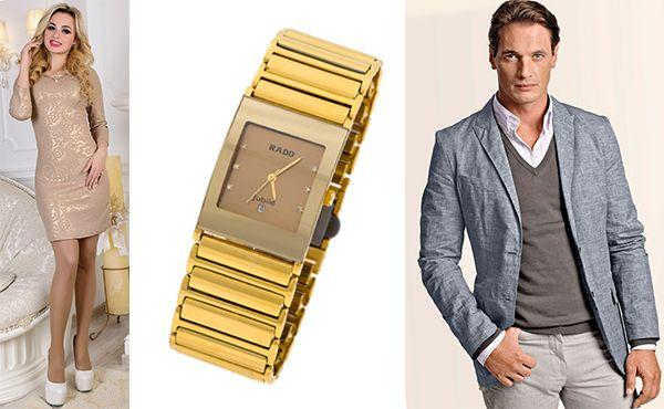Часы Rado с золотистым циферблатом
