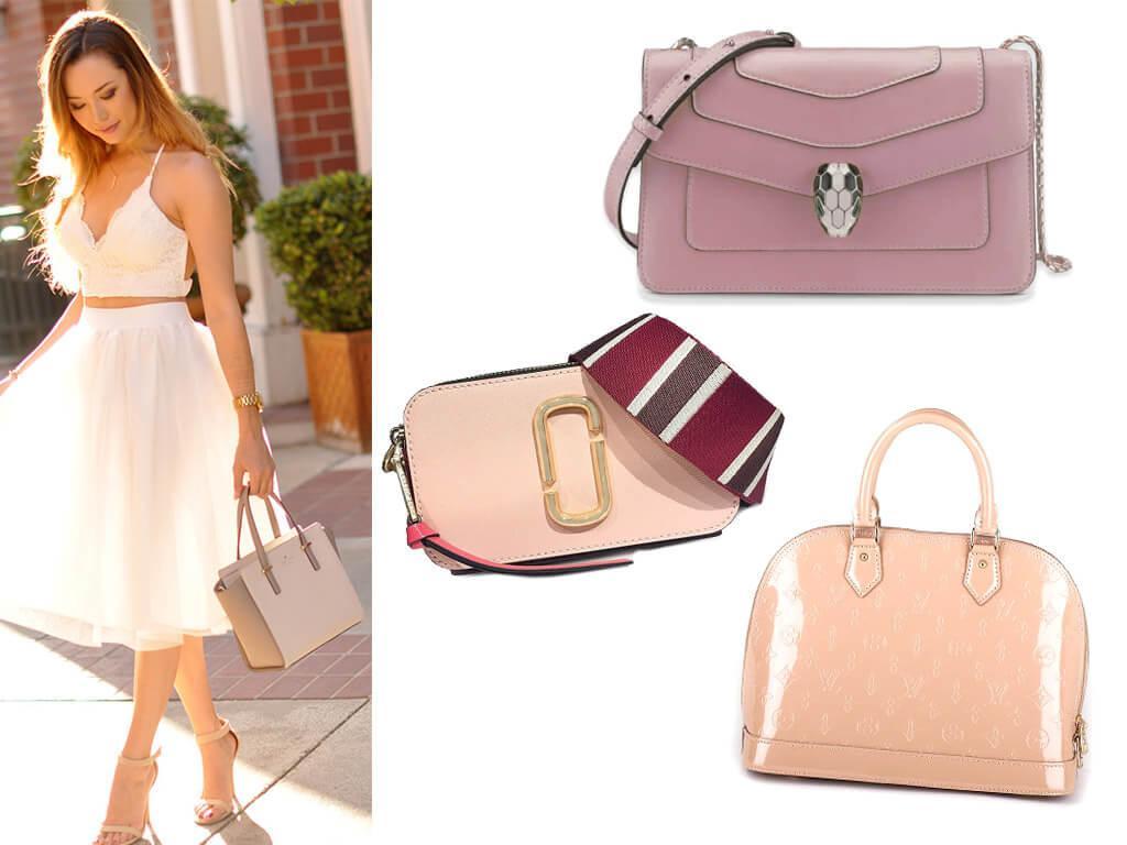 Розовые сумки из натуральной кожи