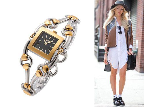 Часы женские Gucci с серебристо золотым ремнем