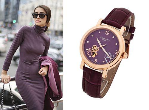 Женские часы Patek Philippe с циферблатом фиолетового цвета