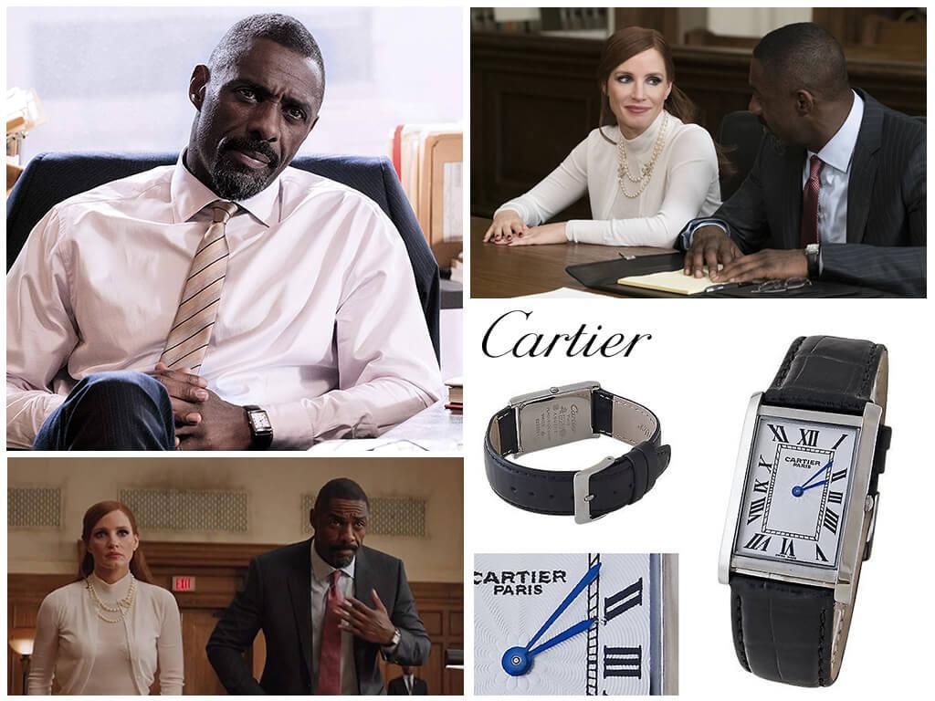 Наручные часы Чарли Джеффри (Идриса Эльбы) Cartier Tank на кожаном ремешке