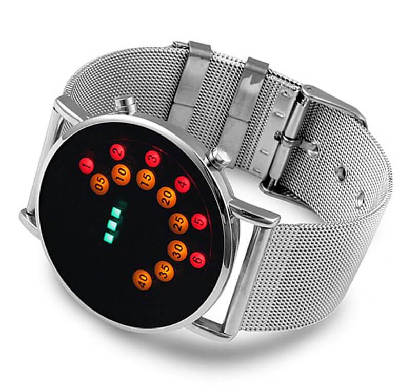 Бинарные часы с расположением светодиодов по кругу