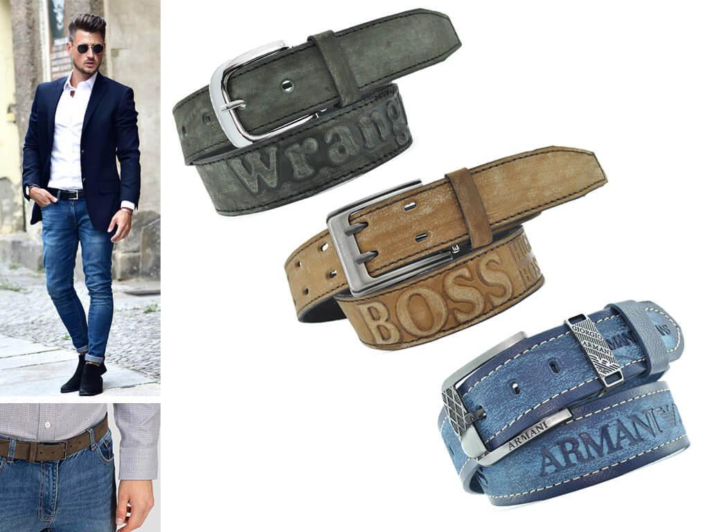 Ремни для джинсов из кожи с потертой текстурой