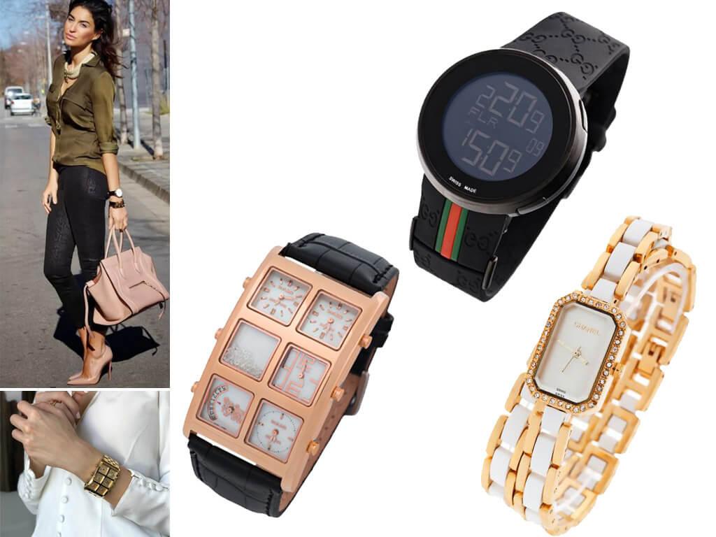 Женские наручные часы разного размера