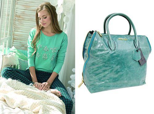 Темно-зеленая сумка Miu Miu женская