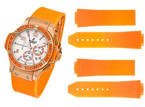 Оранжевый ремень для женских часов Hublot