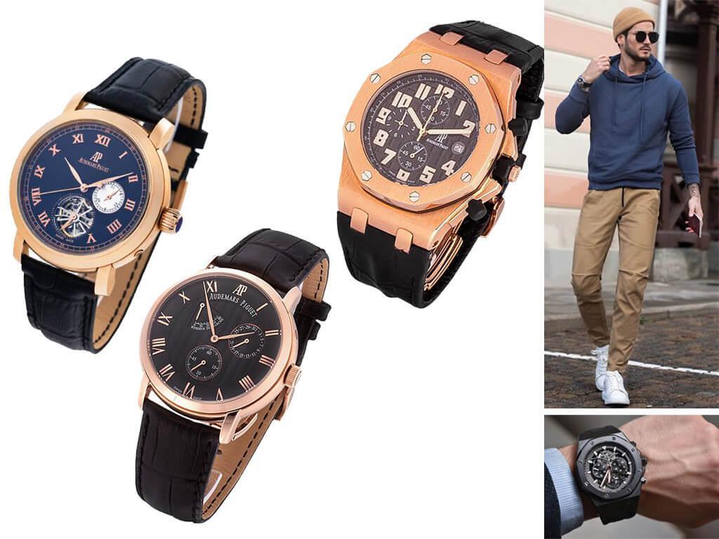 Мужские часы Audemars Piguet с кожаным ремешком