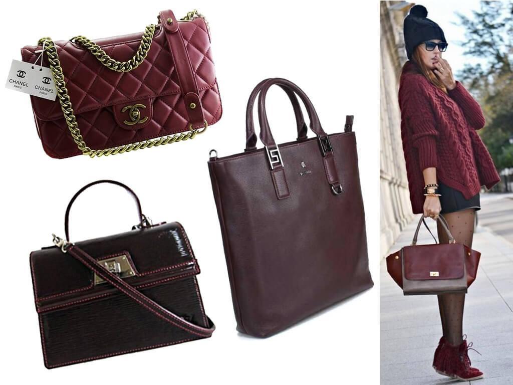 Женские бордовые сумки из кожи