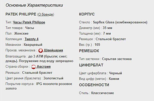 Технические параметры копии Patek Philippe Twenty-4
