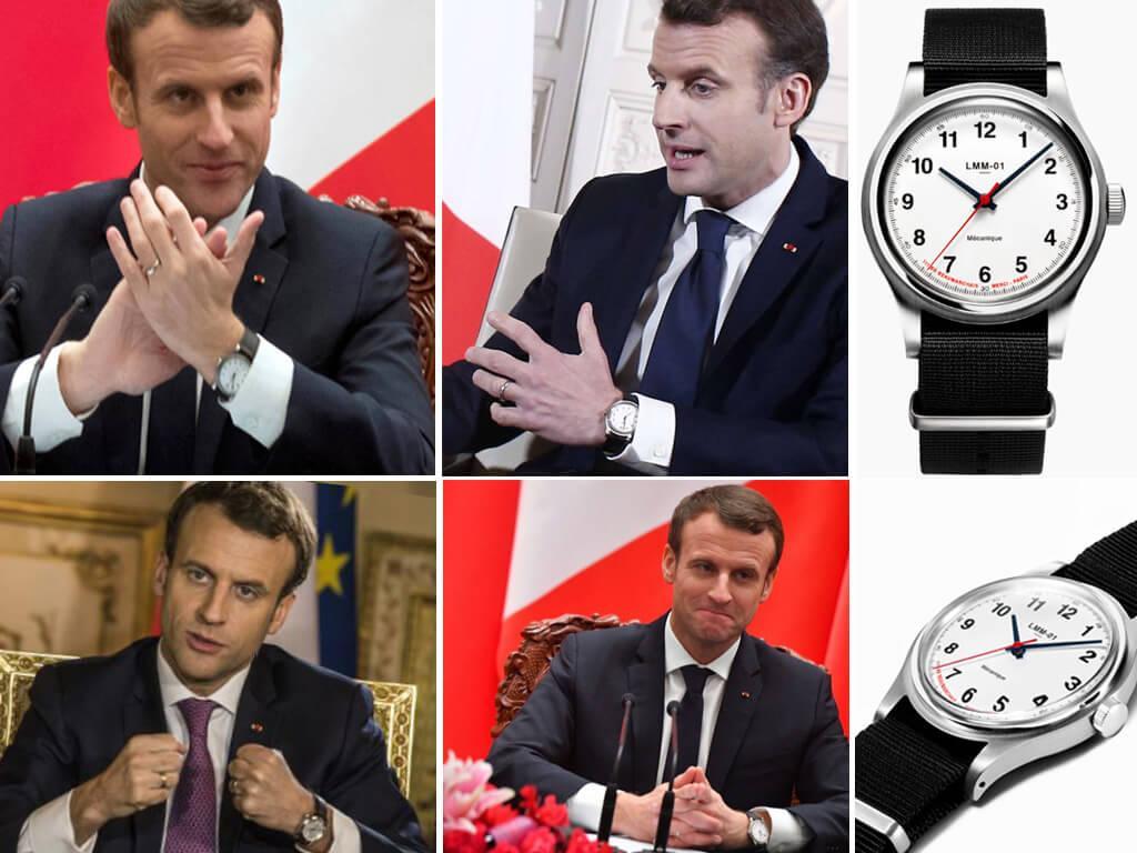 Президент Франции Эмманюэль Макрон носит часы Merci LMM-01