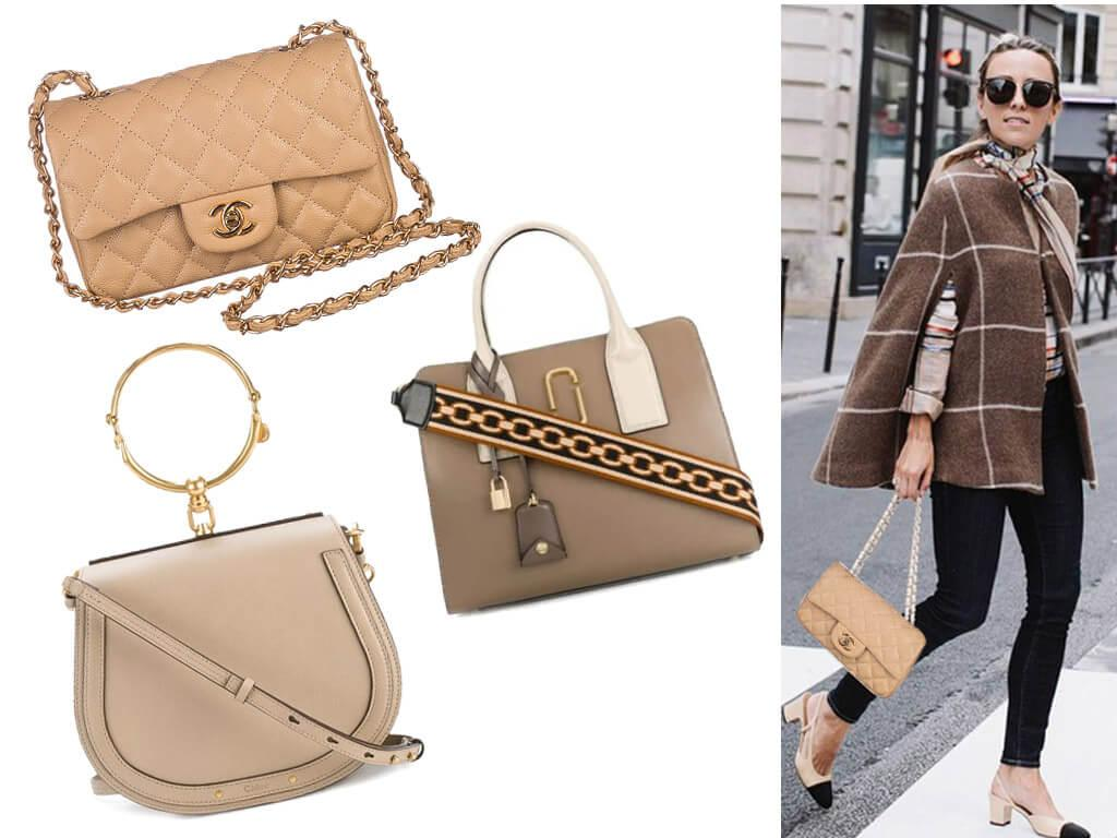 Кожаные женские сумки бежевого цвета