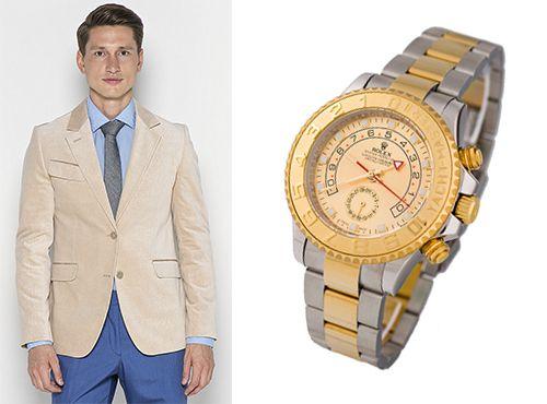 Мужские часы Rolex золотистый циферблат