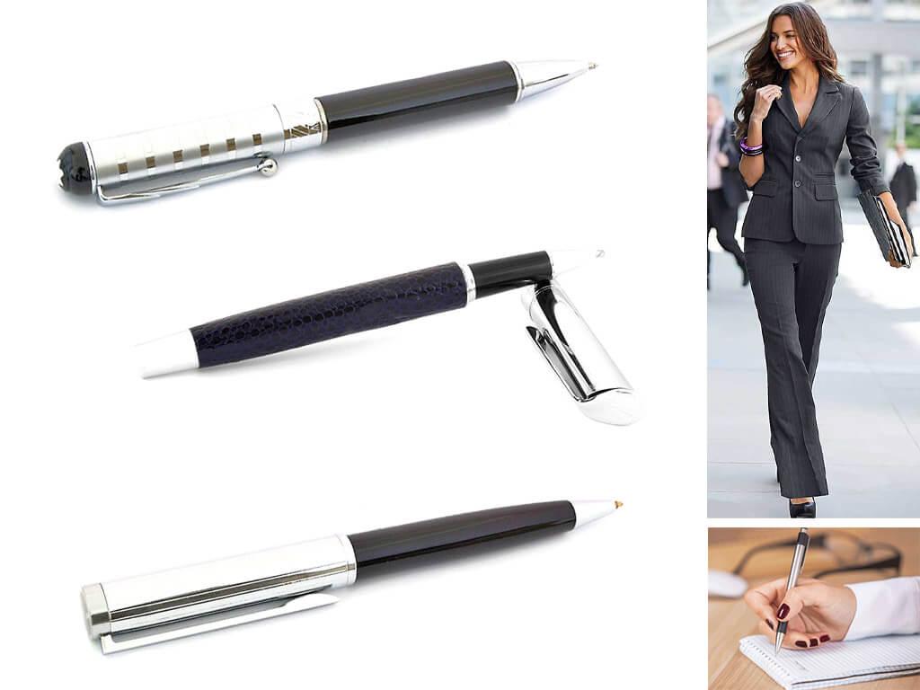 Черные ручки со стальным корпусом