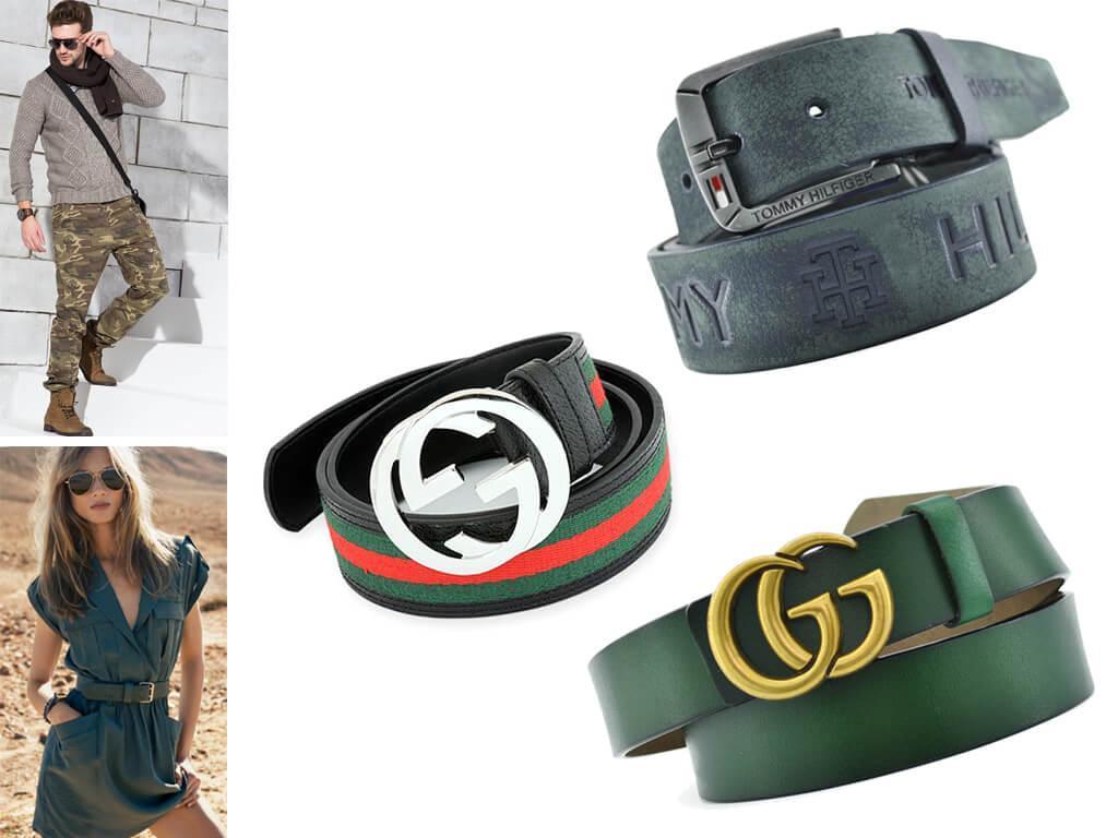 Кожаные ремни зеленого цвета идеально сочетаются с яркими образами в молодежном стиле