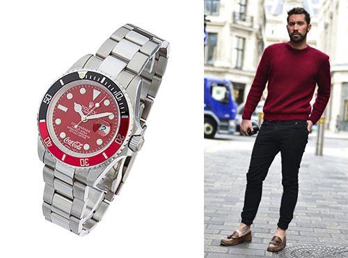 Часы мужские Rolex с циферблатом красного цвета