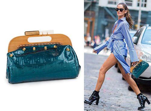 Дизайнерская сумка Fendi синего цвета
